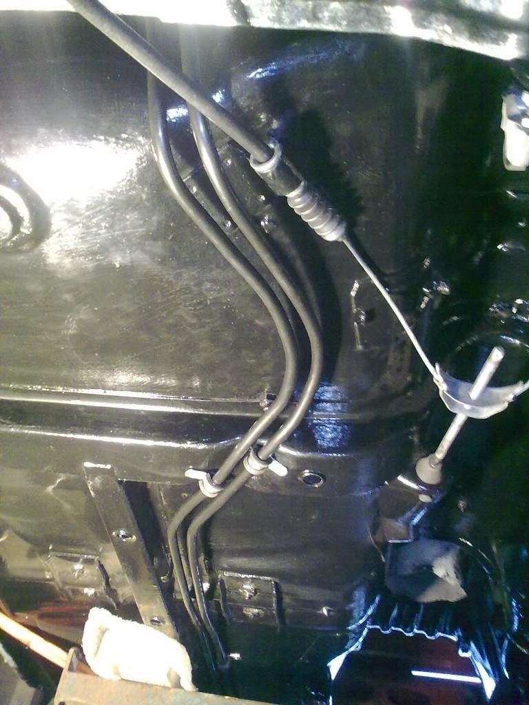 Goodridge hardline routed under the Opel manta