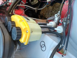 Tilton triple reservoir fitted to Opel Manta A Series