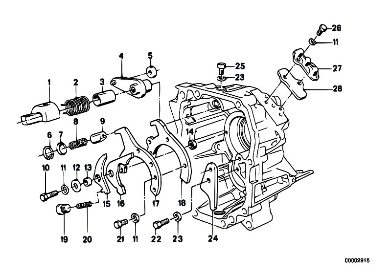 Opel Manta 5 speed Getrag 240 gearbox diagram